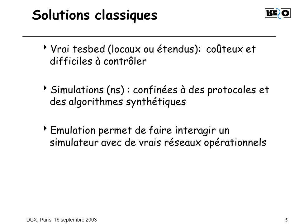 DGX, Paris, 16 septembre 2003 5 Solutions classiques Vrai tesbed (locaux ou étendus): coûteux et difficiles à contrôler Simulations (ns) : confinées à des protocoles et des algorithmes synthétiques Emulation permet de faire interagir un simulateur avec de vrais réseaux opérationnels