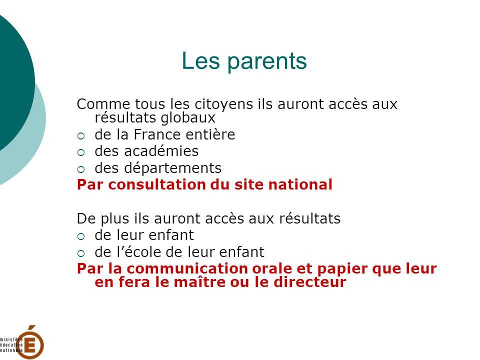 Les parents Comme tous les citoyens ils auront accès aux résultats globaux de la France entière des académies des départements Par consultation du sit