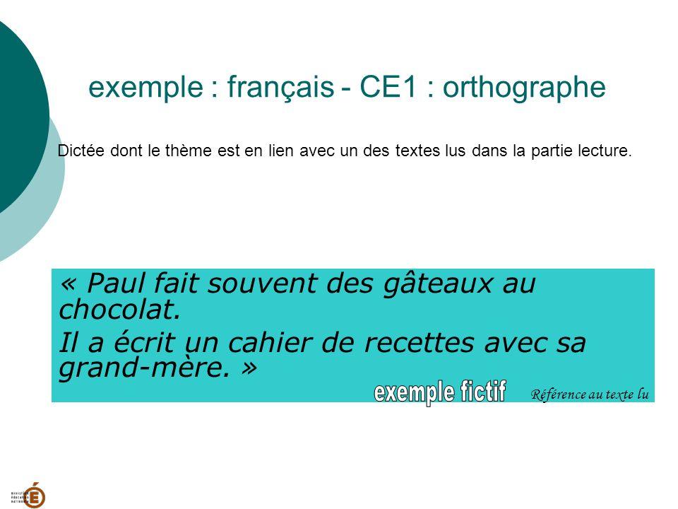 exemple : français - CE1 : orthographe Dictée dont le thème est en lien avec un des textes lus dans la partie lecture. « Paul fait souvent des gâteaux