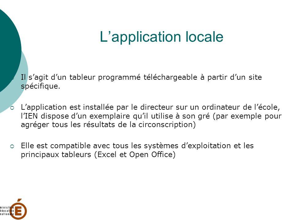 Lapplication locale Il sagit dun tableur programmé téléchargeable à partir dun site spécifique. Lapplication est installée par le directeur sur un ord