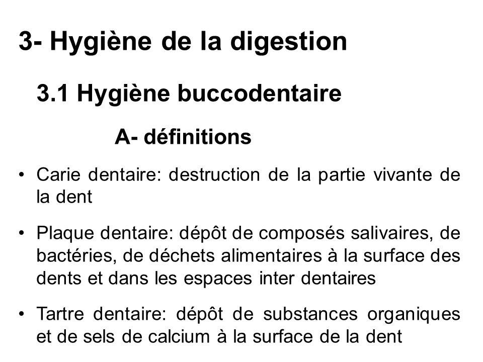 3- Hygiène de la digestion 3.1 Hygiène buccodentaire A- définitions Carie dentaire: destruction de la partie vivante de la dent Plaque dentaire: dépôt
