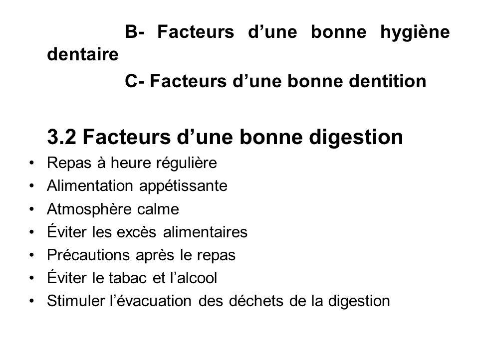 B- Facteurs dune bonne hygiène dentaire C- Facteurs dune bonne dentition 3.2 Facteurs dune bonne digestion Repas à heure régulière Alimentation appéti
