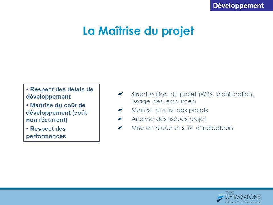 La Maîtrise du projet Respect des délais de développement Maîtrise du coût de développement (coût non récurrent) Respect des performances Structuratio