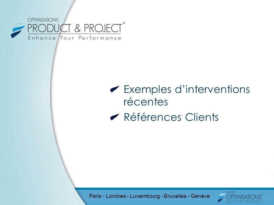 Exemples dinterventions récentes Références Clients Paris - Londres - Luxembourg - Bruxelles - Genève