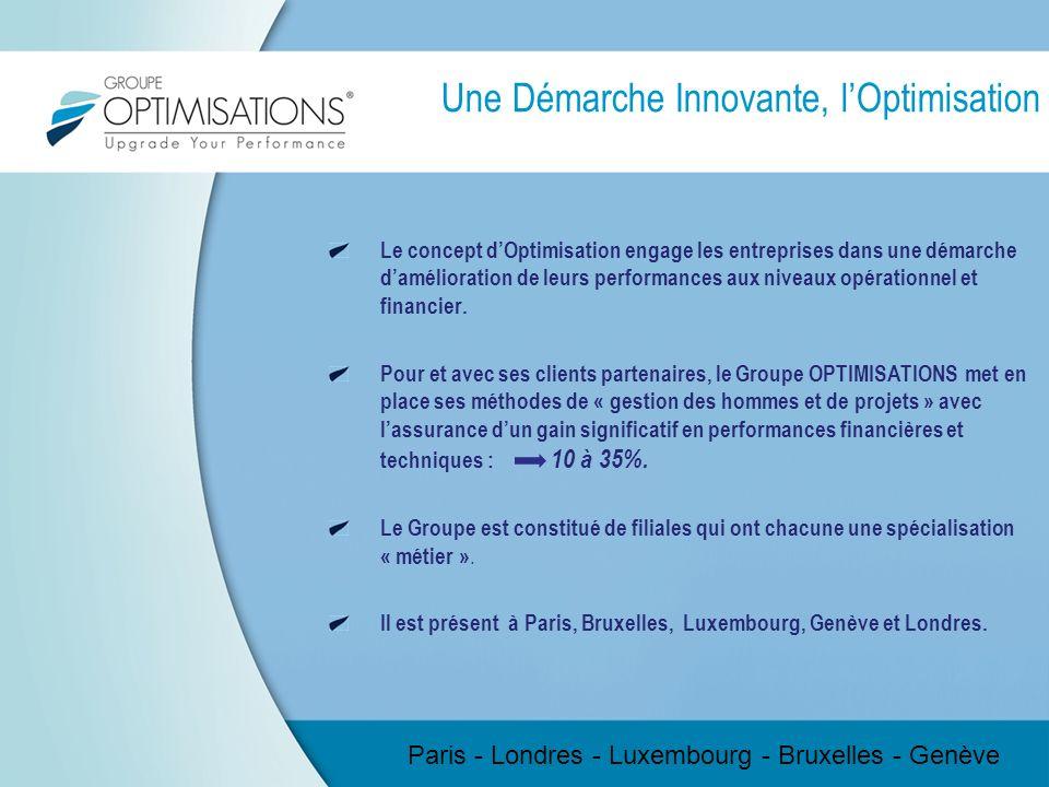 Une Démarche Innovante, lOptimisation Le concept dOptimisation engage les entreprises dans une démarche damélioration de leurs performances aux niveau