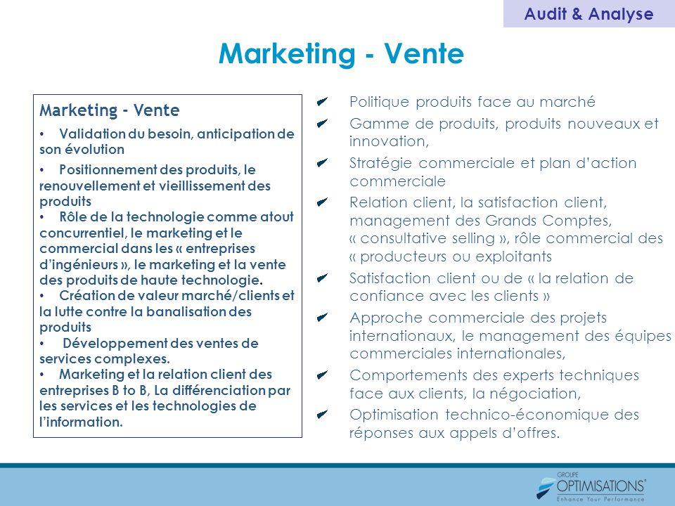 Marketing - Vente Validation du besoin, anticipation de son évolution Positionnement des produits, le renouvellement et vieillissement des produits Rô