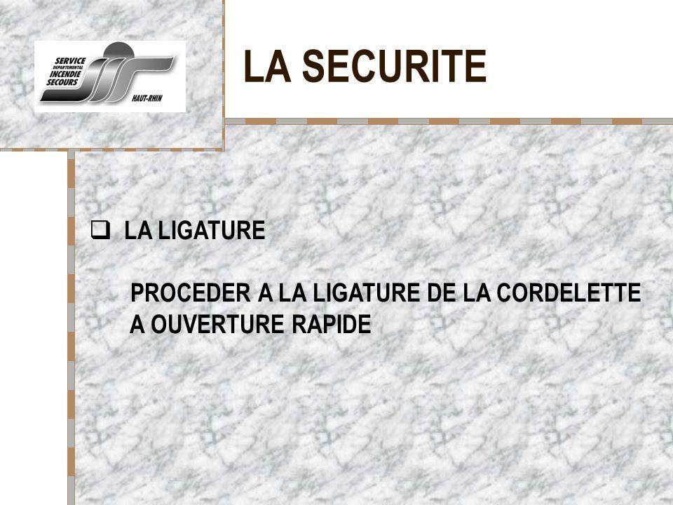 LA SECURITE Votre logo ici LA LIGATURE PROCEDER A LA LIGATURE DE LA CORDELETTE A OUVERTURE RAPIDE