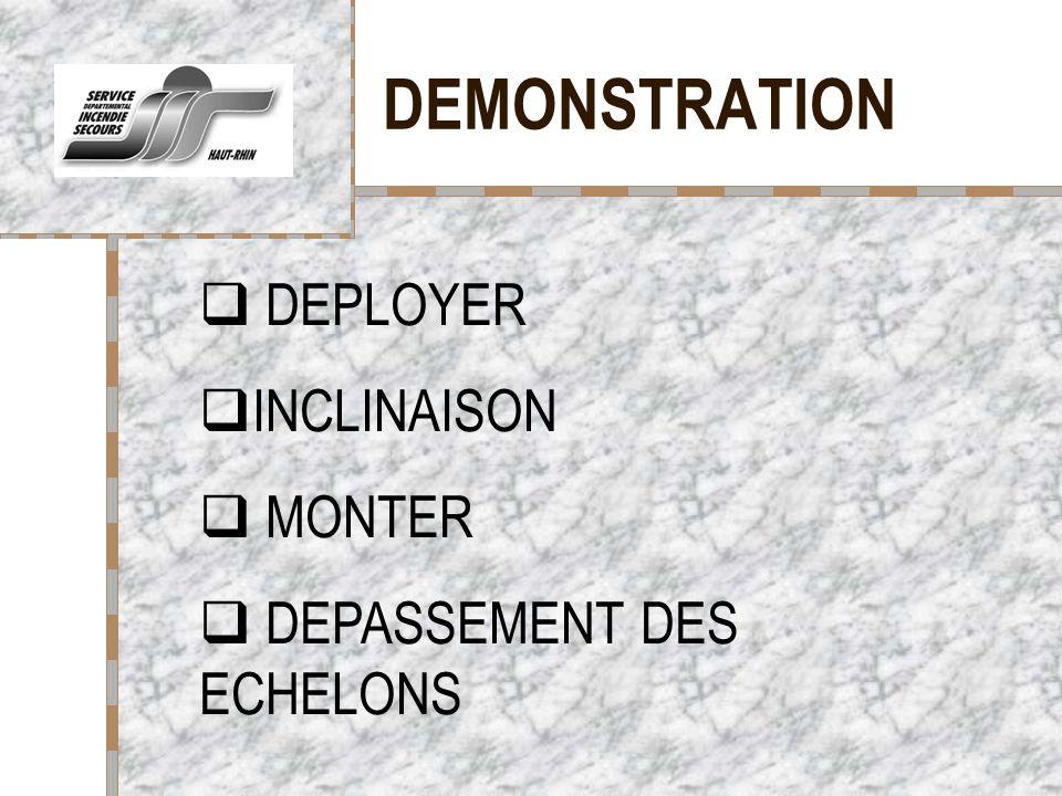 DEMONSTRATION Votre logo ici DEPLOYER INCLINAISON MONTER DEPASSEMENT DES ECHELONS