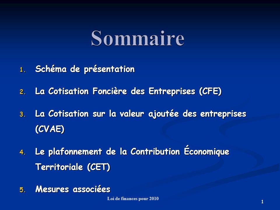 1 1. Schéma de présentation 2. La Cotisation Foncière des Entreprises (CFE) 3. La Cotisation sur la valeur ajoutée des entreprises (CVAE) 4. Le plafon