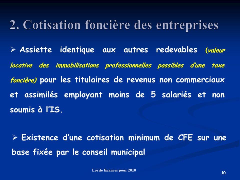 10 Loi de finances pour 2010 Assiette identique aux autres redevables (valeur locative des immobilisations professionnelles passibles dune taxe fonciè