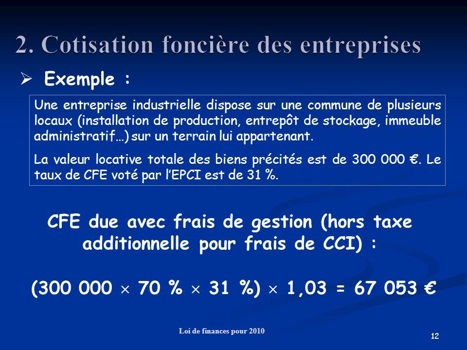 12 Loi de finances pour 2010 Exemple : Une entreprise industrielle dispose sur une commune de plusieurs locaux (installation de production, entrepôt d