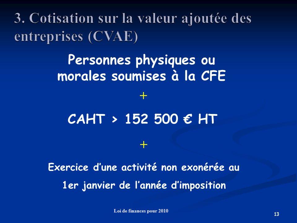 13 Loi de finances pour 2010 + + Personnes physiques ou morales soumises à la CFE CAHT > 152 500 HT Exercice dune activité non exonérée au 1er janvier