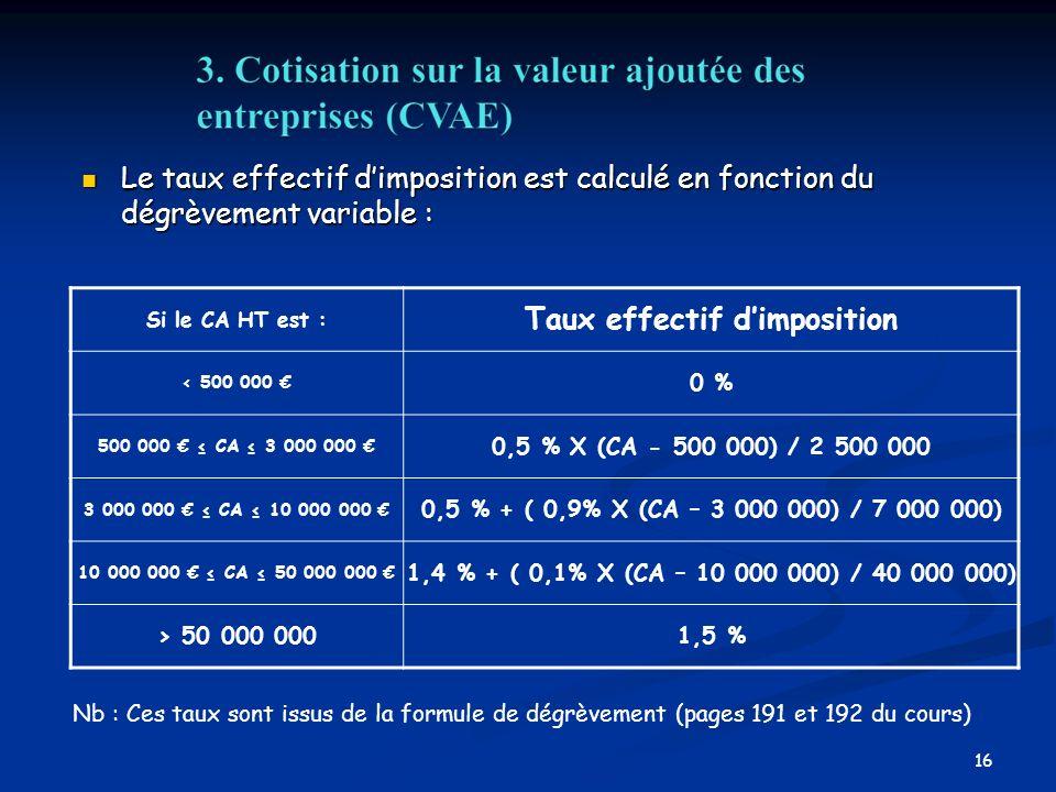 16 Le taux effectif dimposition est calculé en fonction du dégrèvement variable : Le taux effectif dimposition est calculé en fonction du dégrèvement