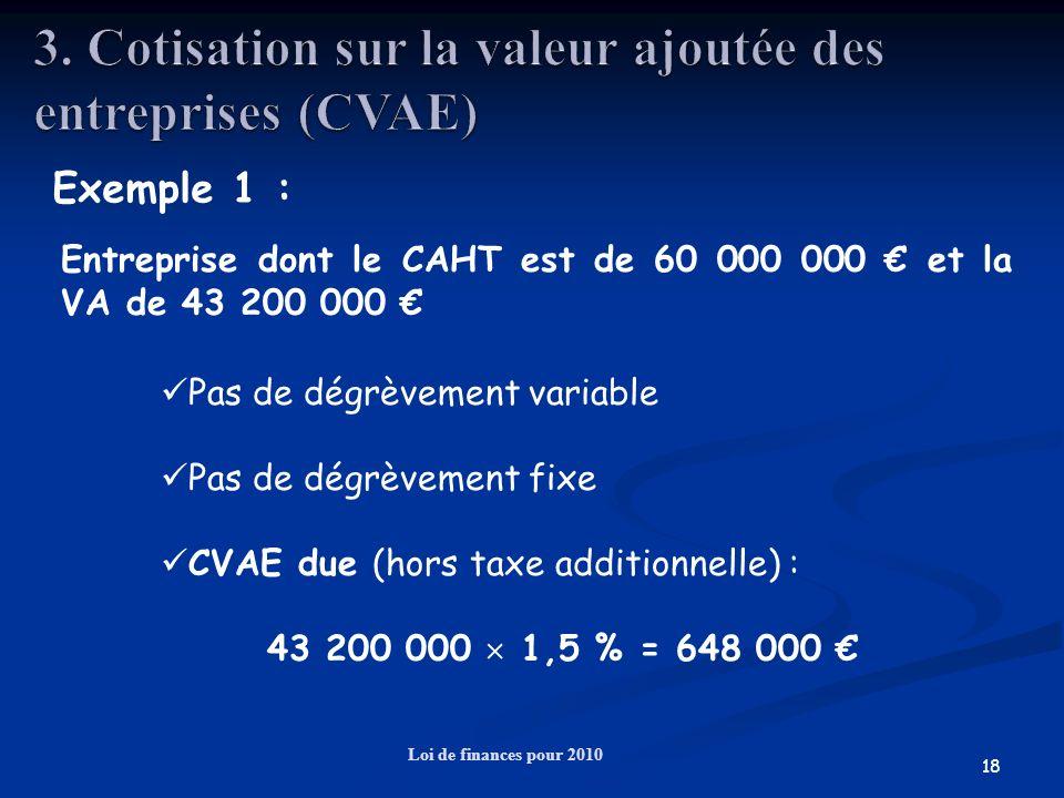 18 Loi de finances pour 2010 Exemple 1 : Entreprise dont le CAHT est de 60 000 000 et la VA de 43 200 000 Pas de dégrèvement variable Pas de dégrèveme