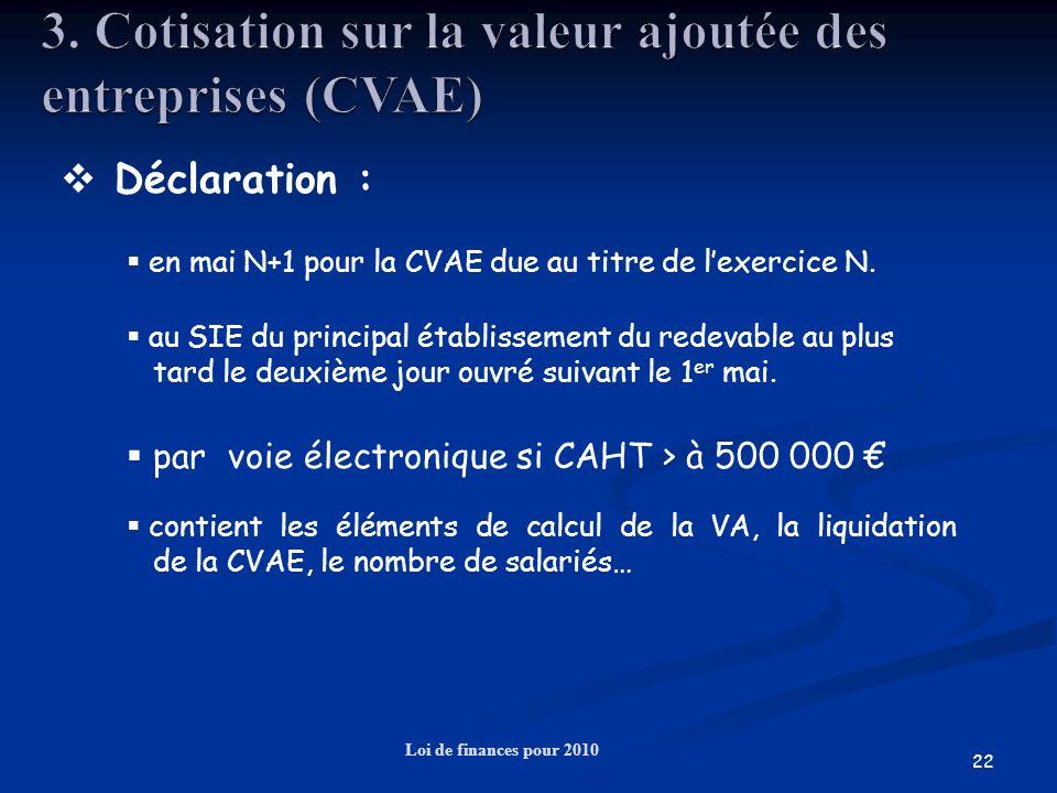 22 Loi de finances pour 2010 Déclaration : au SIE du principal établissement du redevable au plus tard le deuxième jour ouvré suivant le 1 er mai. en