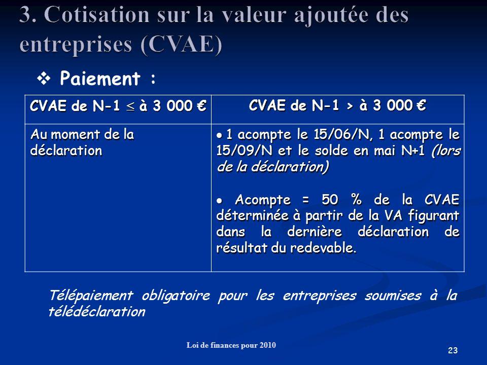 23 Loi de finances pour 2010 Paiement : CVAE de N-1 à 3 000 CVAE de N-1 à 3 000 CVAE de N-1 > à 3 000 CVAE de N-1 > à 3 000 Au moment de la déclaratio