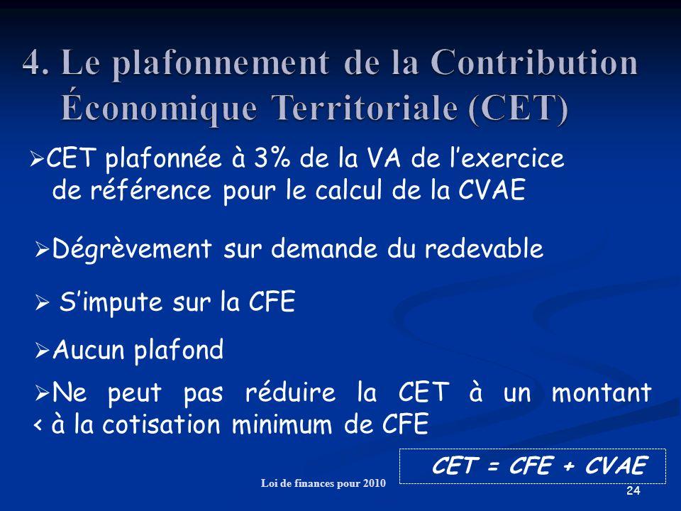 24 Loi de finances pour 2010 CET plafonnée à 3% de la VA de lexercice de référence pour le calcul de la CVAE CET = CFE + CVAE Dégrèvement sur demande