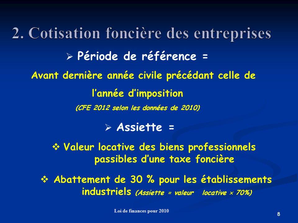 19 Loi de finances pour 2010 Exemple 2 : Entreprise dont le CAHT est de 9 000 000 et la VA de 6 300 000 Dégrèvement variable : détermination du taux taux : 0,5 % + (0,9 % ((CA – 3 000 000) / 7 000 000)) arrondi du taux au centième le plus proche soit : 0,5 % + (0,9 % ((9 – 3) / 7 )) = 1,27 % Pas de dégrèvement fixe CVAE due (hors taxe additionnelle) : Montant théorique : 6 300 000 1,5 % = 94 500 Dégrèvement : 94 500 – (6 300 000 1,27 %) = 14 490 Montant du : 94 500 – 14 490 = 80 010 Ou 6 300 000 X 1,27%= 80 010