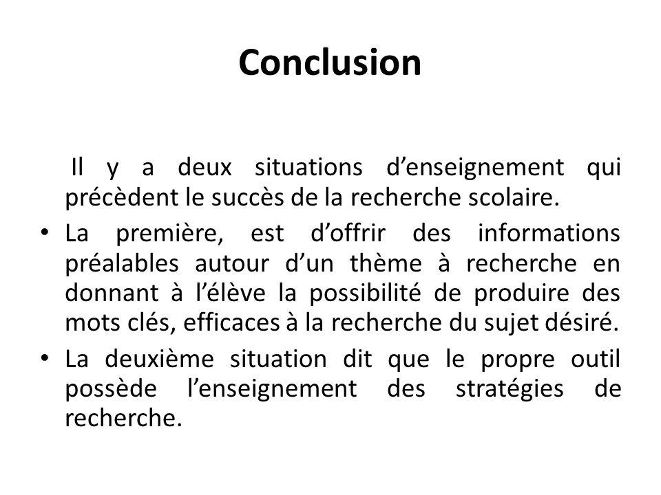 Conclusion Il y a deux situations denseignement qui précèdent le succès de la recherche scolaire.