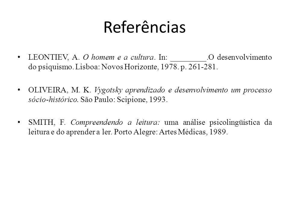 Referências LEONTIEV, A.O homem e a cultura. In: _________.O desenvolvimento do psiquismo.