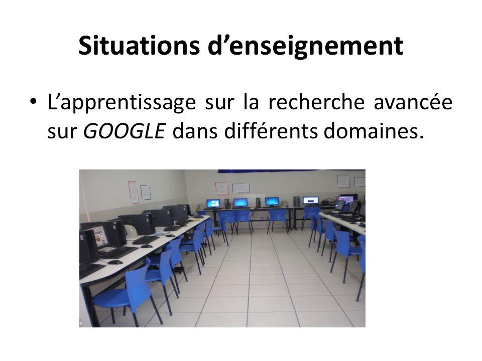 Situations denseignement Lapprentissage sur la recherche avancée sur GOOGLE dans différents domaines.