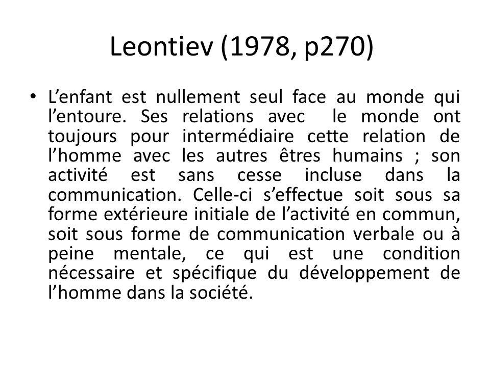 Leontiev (1978, p270) Lenfant est nullement seul face au monde qui lentoure.