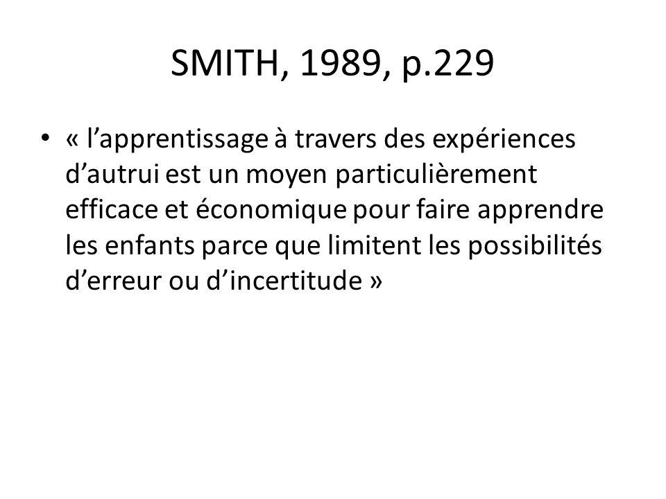 SMITH, 1989, p.229 « lapprentissage à travers des expériences dautrui est un moyen particulièrement efficace et économique pour faire apprendre les enfants parce que limitent les possibilités derreur ou dincertitude »