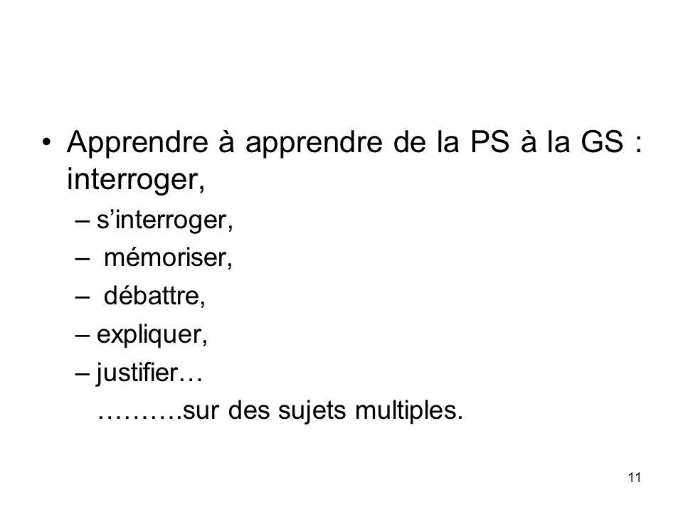 11 Apprendre à apprendre de la PS à la GS : interroger, –sinterroger, – mémoriser, – débattre, –expliquer, –justifier… ……….sur des sujets multiples.
