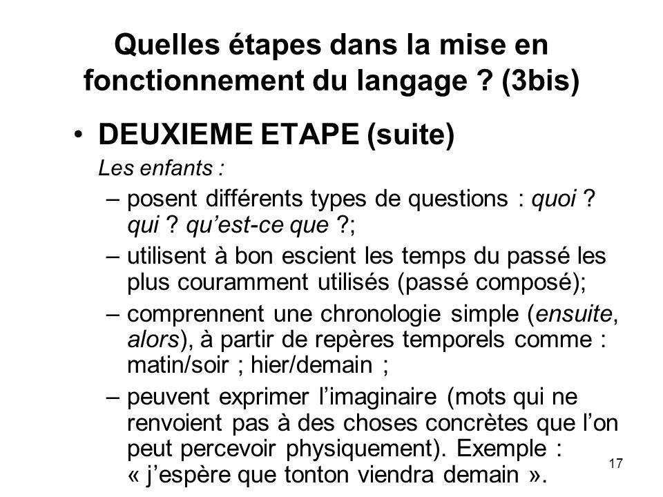 17 Quelles étapes dans la mise en fonctionnement du langage ? (3bis) DEUXIEME ETAPE (suite) Les enfants : –posent différents types de questions : quoi