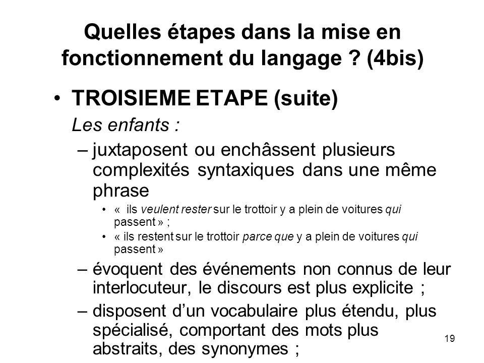 19 Quelles étapes dans la mise en fonctionnement du langage ? (4bis) TROISIEME ETAPE (suite) Les enfants : –juxtaposent ou enchâssent plusieurs comple