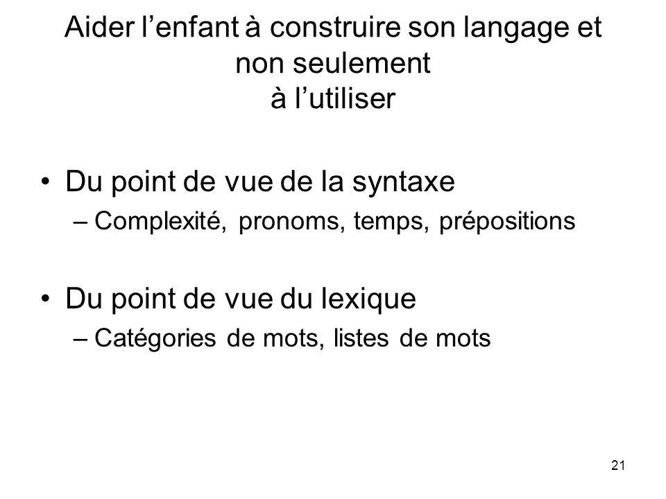 21 Aider lenfant à construire son langage et non seulement à lutiliser Du point de vue de la syntaxe –Complexité, pronoms, temps, prépositions Du poin
