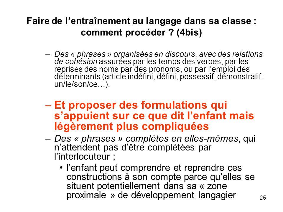 25 Faire de lentraînement au langage dans sa classe : comment procéder ? (4bis) –Des « phrases » organisées en discours, avec des relations de cohésio
