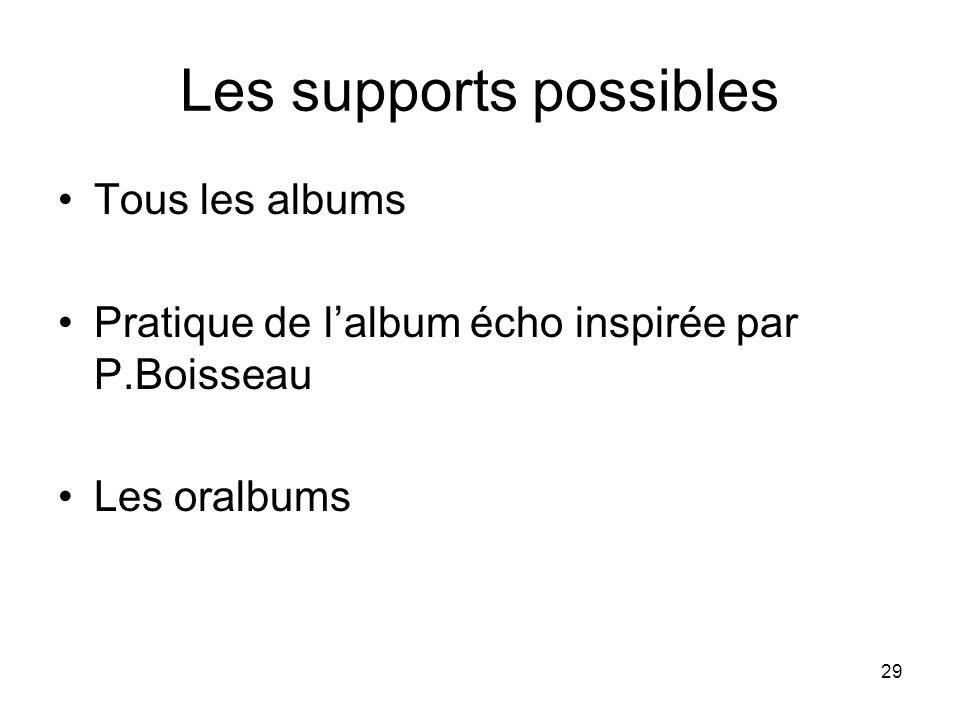 29 Les supports possibles Tous les albums Pratique de lalbum écho inspirée par P.Boisseau Les oralbums