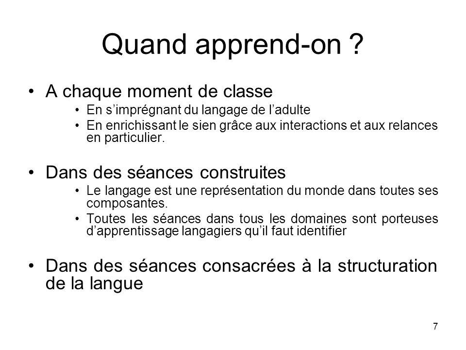 18 Quelles étapes dans la mise en fonctionnement du langage .