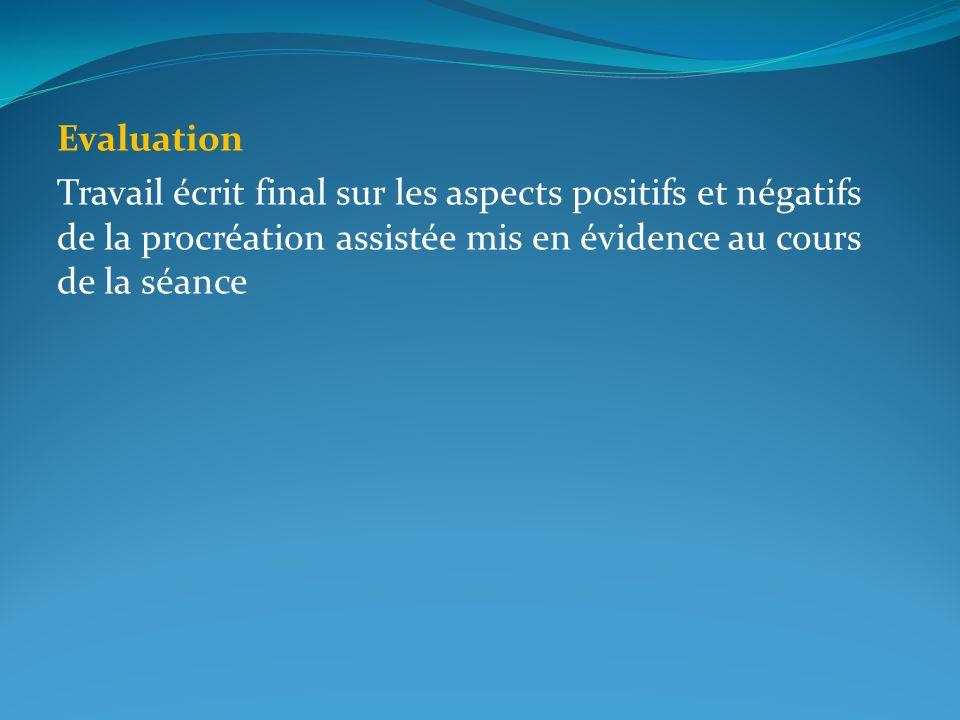 Evaluation Travail écrit final sur les aspects positifs et négatifs de la procréation assistée mis en évidence au cours de la séance