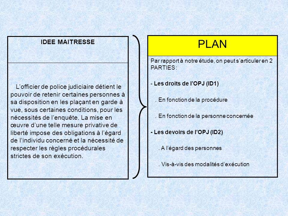 IDEE MAITRESSE Lofficier de police judiciaire détient le pouvoir de retenir certaines personnes à sa disposition en les plaçant en garde à vue, sous c