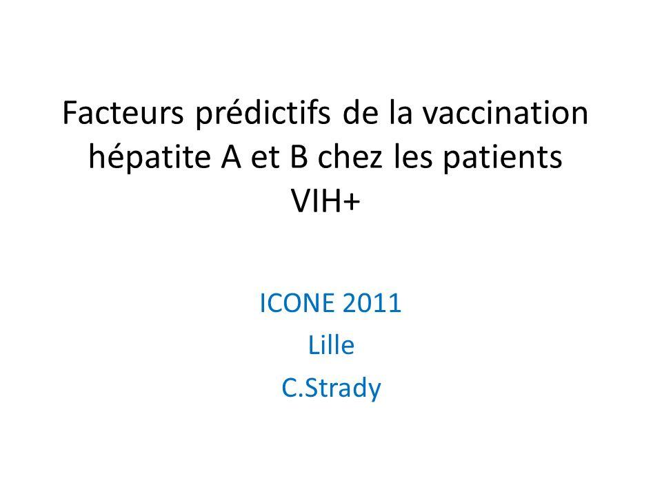 Facteurs prédictifs de la vaccination hépatite A et B chez les patients VIH+ ICONE 2011 Lille C.Strady