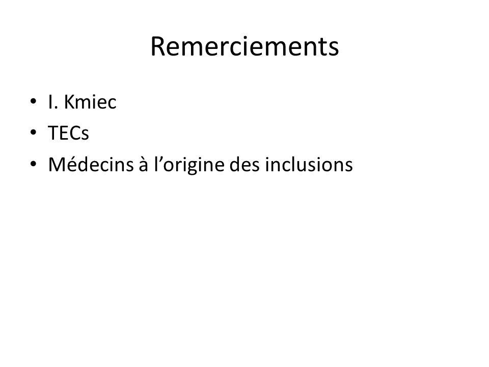 Remerciements I. Kmiec TECs Médecins à lorigine des inclusions