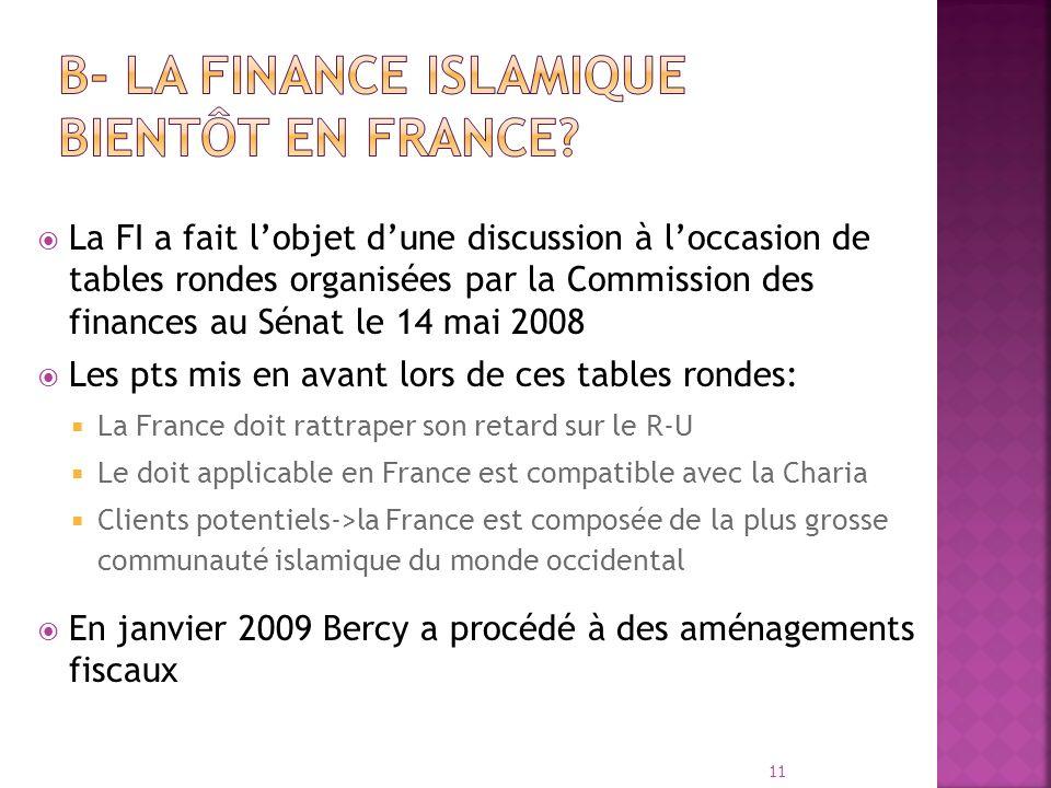 La FI a fait lobjet dune discussion à loccasion de tables rondes organisées par la Commission des finances au Sénat le 14 mai 2008 Les pts mis en avan