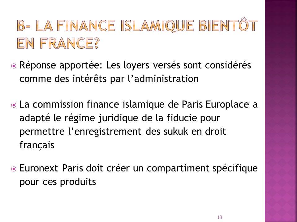 Réponse apportée: Les loyers versés sont considérés comme des intérêts par ladministration La commission finance islamique de Paris Europlace a adapté