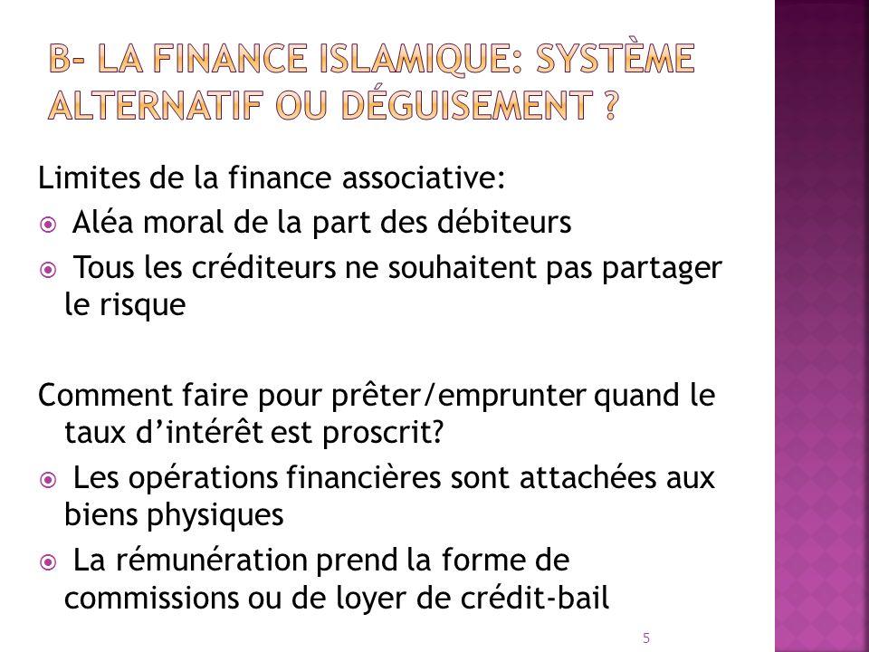 Limites de la finance associative: Aléa moral de la part des débiteurs Tous les créditeurs ne souhaitent pas partager le risque Comment faire pour prê