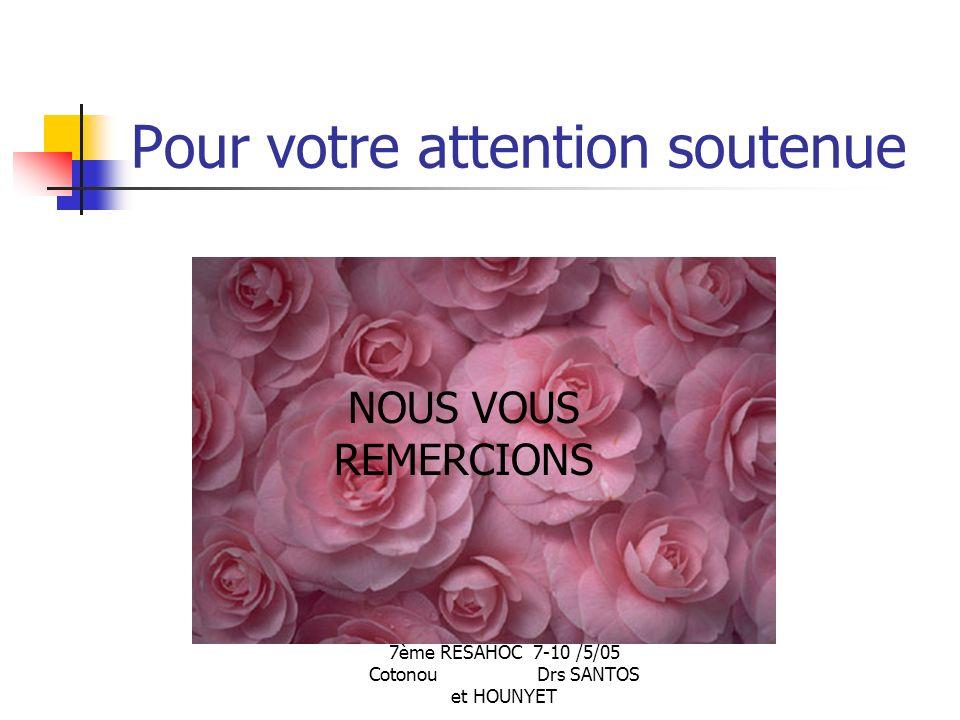 7ème RESAHOC 7-10 /5/05 Cotonou Drs SANTOS et HOUNYET Pour votre attention soutenue NOUS VOUS REMERCIONS