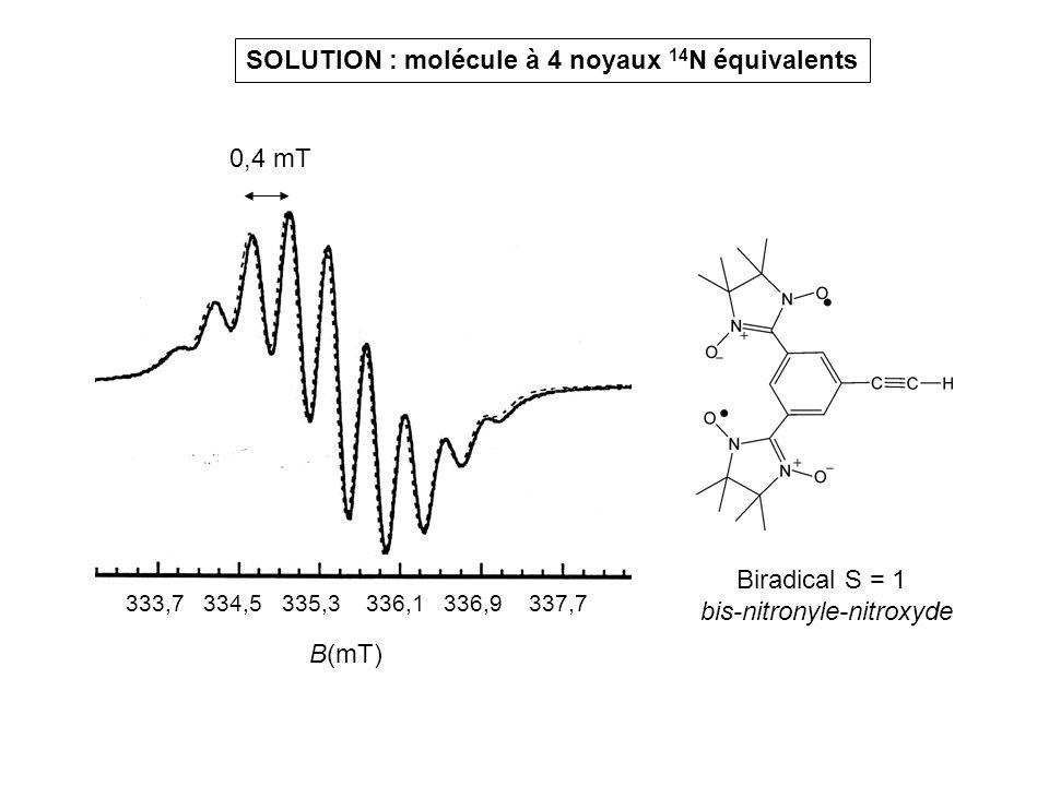 SOLUTION : molécule à 4 noyaux 14 N équivalents B(mT) 333,7 334,5 335,3 336,1 336,9 337,7 Biradical S = 1 bis-nitronyle-nitroxyde 0,4 mT