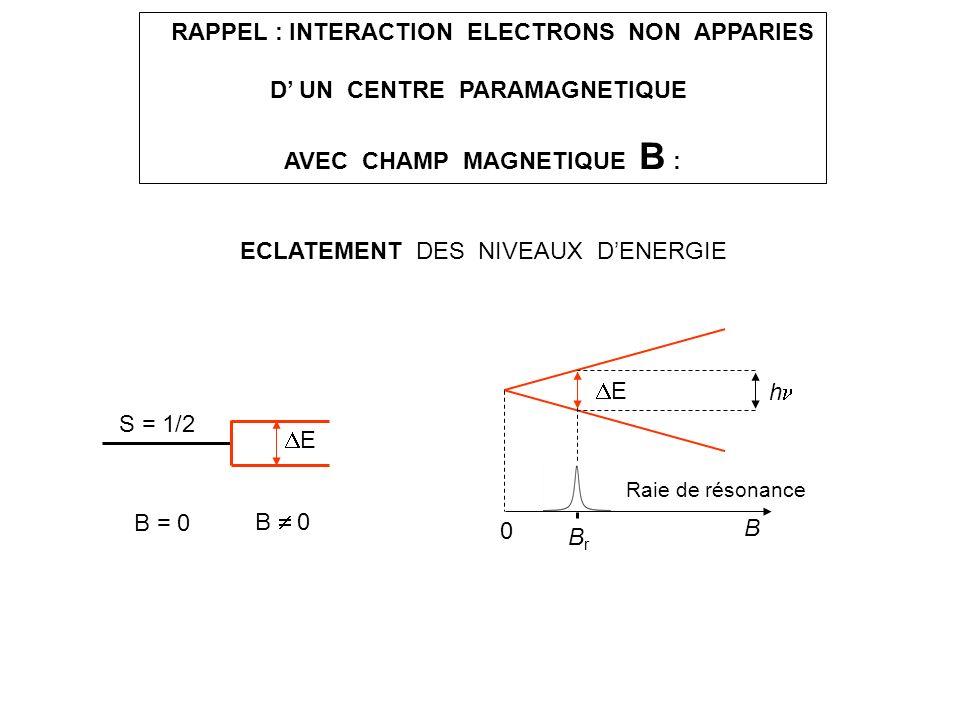RAPPEL : INTERACTION ELECTRONS NON APPARIES D UN CENTRE PARAMAGNETIQUE AVEC CHAMP MAGNETIQUE B : ECLATEMENT DES NIVEAUX DENERGIE B = 0 B 0 E S = 1/2 B