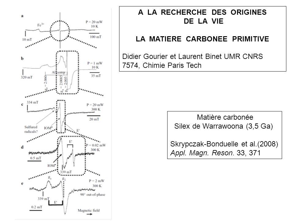 A LA RECHERCHE DES ORIGINES DE LA VIE LA MATIERE CARBONEE PRIMITIVE Didier Gourier et Laurent Binet UMR CNRS 7574, Chimie Paris Tech Matière carbonée