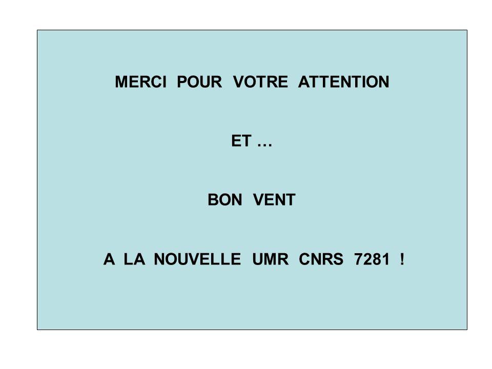 MERCI POUR VOTRE ATTENTION ET … BON VENT A LA NOUVELLE UMR CNRS 7281 !