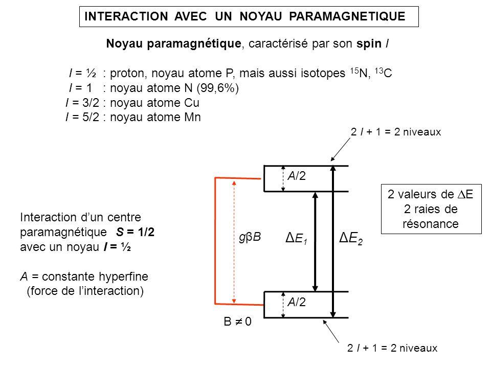 ΔE2ΔE2 INTERACTION AVEC UN NOYAU PARAMAGNETIQUE Noyau paramagnétique, caractérisé par son spin I I = ½ : proton, noyau atome P, mais aussi isotopes 15