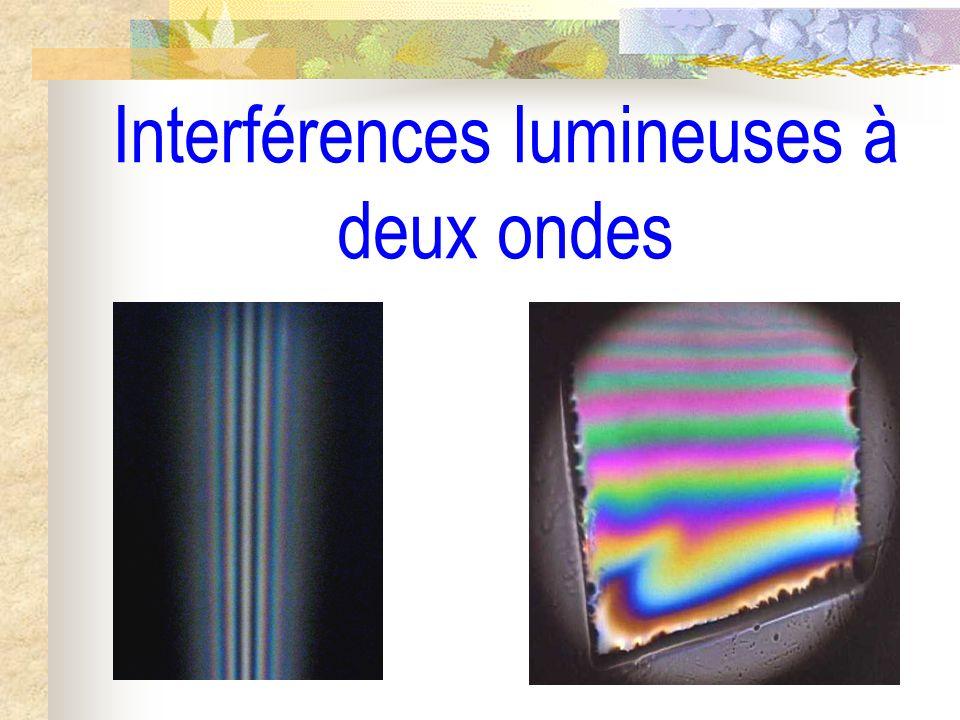 Interférences lumineuses à deux ondes I) Interférence à deux ondes ; Notion de cohérence temporelle 1) Superposition de deux ondes lumineuses 2) Notion de cohérence temporelle de deux ondes a) Caractère aléatoire de lémission lumineuse par une source