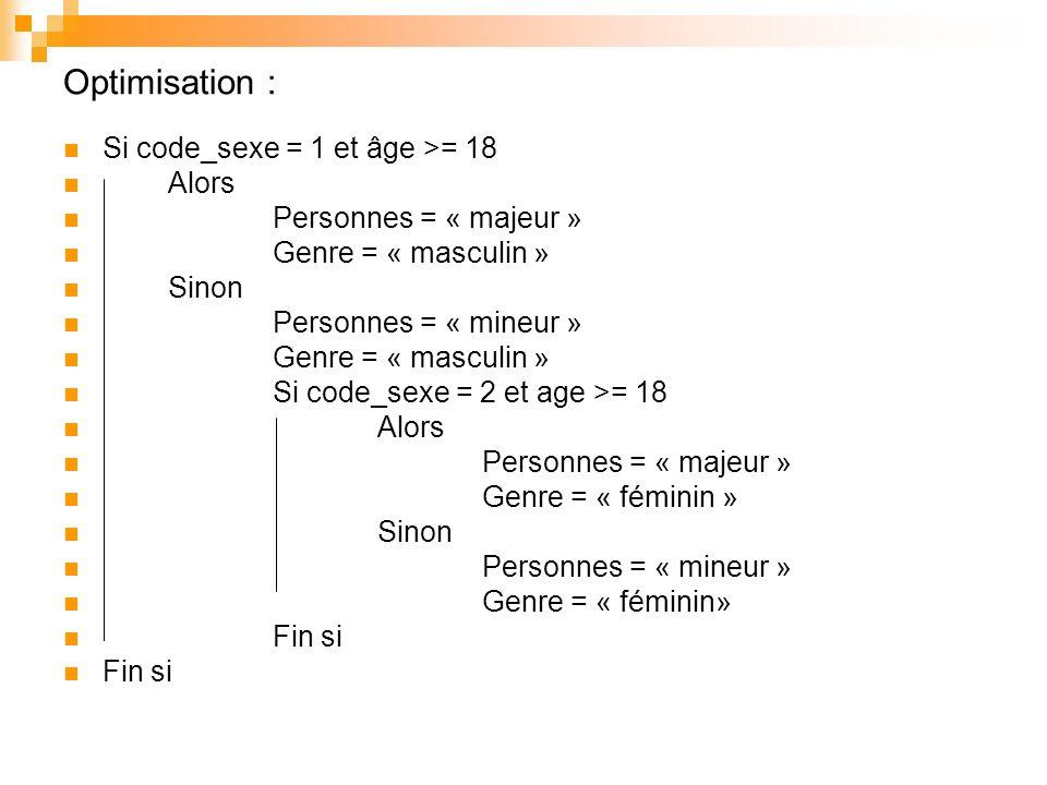 Optimisation : Si code_sexe = 1 et âge >= 18 Alors Personnes = « majeur » Genre = « masculin » Sinon Personnes = « mineur » Genre = « masculin » Si co