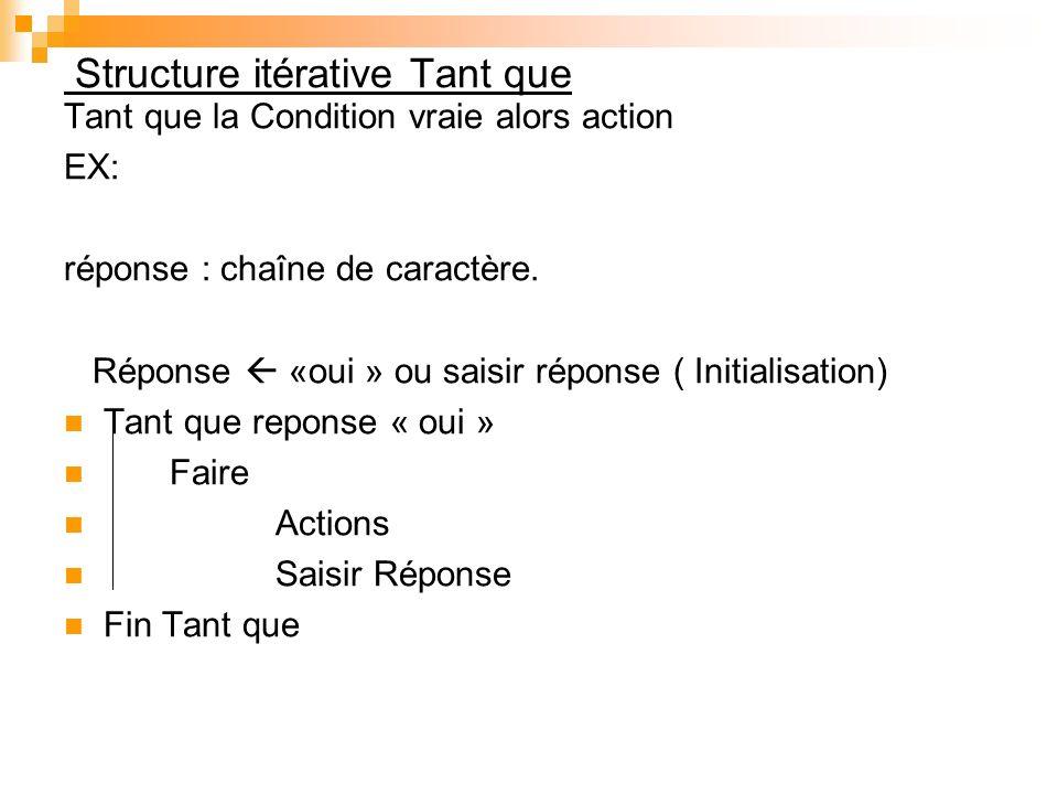 Structure itérative Tant que Tant que la Condition vraie alors action EX: réponse : chaîne de caractère. Réponse «oui » ou saisir réponse ( Initialisa